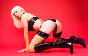 susan wayland, blonde, german, fetish supermodel, busty, tattoo, slim, sexy babe, long hair, posing, kneeling, sexy, dressed, latex, bra, string, stockings, pvc, knee boots, shiny, rubber, fetish, erotic, susan, babes in boots, ass wallpaper, cameltoe