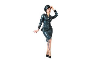 brunette, fashion, alternative, model, slim, sexy babe, long hair, pin up style, posing, grey, latex, lingerie, uniform, hat, top, skirt, legs, tattoo, high heels, erotic, minimalist wall, own cut, lingerie series, red lips, fetish babe, officer, arrest me