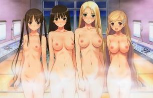 tony taka, hentai, hot, sexy, boobs, breasts, group, big boobs, small boobs, nipples, bathroom, blonde, dark hair