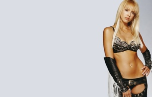 jessica alba, american, celebrity, actress, slim, sexy babe, long hair, sin city, posing, sexy, dressed, black, leather, bra, panty, gaunlets, chaps, erotic, bellybutton, piercing, minimalist wall, own cut, hi-q, lingerie series, jessica, real celebs wall