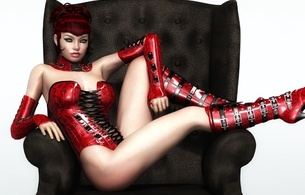 virtual, sexy babe, erotic art, 3d, sitting, chair, hottie, long hair, red, latex, lingerie, corset, gauntlets, knee boots, artificial, fetish babe, widescreen cut, 3d latex, babes in boots