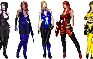 3d, 5 babes, virtual, blonde, redhead, brunette, hotties, tight clothes, automatic weapons, art, sexy, dressed, artificial, hotties, hot, decollete, erotic, minimalist wall, girls and guns, just, widescreen cut, girls and guns