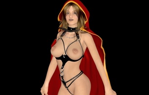 virtual, sexy babe, erotic art, 3d, blonde, little red riding hood, big tits, boobs, juggs, cupless, pvc, lingerie, erotic, black, background, minimalist wall, artificial, fetish babe, hi-q, widescreen cut