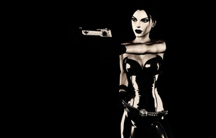 virtual, sexy babe, erotic art, 3d, lara croft, tomb raider, tight clothes, artificial, babe, latex, erotic, minimalist wall, own cut, black, background, lara