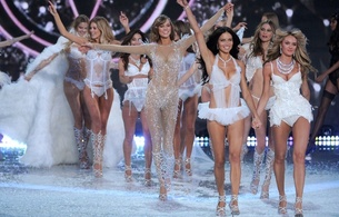 victorias secret models, group, catwalk, fashion, glamour, model, brunette, sexy babe, blonde, long hair, white, lingerie, adriana lima, giselle buendchen, erotic, lingerie series, karlie kloss, real celebs wall