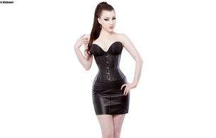 young, brunette, alternative, amateur, model, slim, sexy babe, pale skin, long hair, posing, sexy, dressed, black, bra, shiny, leather, underbust corset, miniskirt, erotic, fetish babe, minimalist wall, own cut, skinny, delicious, sexy, small t