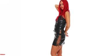 redhead, fashion, alternative, glamour, model, slim, sexy babe, long hair, posing, shiny, pvc, lingerie, minidress, erotic, fetish babe, minimalist wall, own cut, fetish, widescreen cut