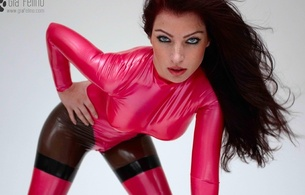 gia felino, brunette, alternative, glamour, fetish model, slim, sexy babe, long hair, blue eyes, close up, bend forward, pink, latex, catsuit, fullsuit, fetish babe, erotic, shiny, rubber, fetish, gia, skinny, delicious, sexy, small tits, tiny t