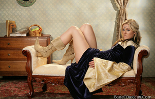 dargundy, blonde, dress, boots, legs