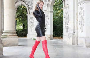 lady ann, german, mistress, milf, long hair, amateur, model, posing, outdoor, tight clothes, black, leather, minidress, gloves, red, overknee, high boots, erotic, fetish babe, ann, widescreen cut, perfect lady, babes in boots