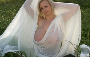 duana, polnish, boobs, glamour, holy shit, big tits, model, busty, milf, curvy, sexy babe, short hair, posing, outdoor, green, grass, meadow, white, c-tru, satin, erotic, covered, heavy artillery