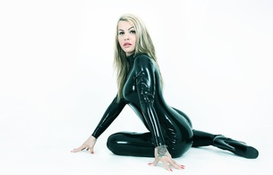 mistress van deluxe, blonde, slim, real life, domina, mistress, sexy babe, long hair, posing, sitting, tight clothes, latex, lingerie, catsuit, fullsuit, shiny, rubber, fetish, legs, high heels, erotic, minimalist wall, fetish babe