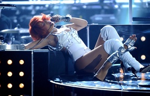 rihanna, exotic, barbadian, celebrity, singer, actress, brunette, sexy babe, on stage, singing, sexy dressed, white, pvc, lingerie, body, harness, bucket tops, legs, fishnet, pantyhose, high heels, erotic, real celebs wall, babes in boots