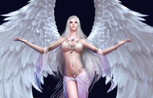 3d vector girl, fantasy, anime, erotic, angel, blonde, skinny, delicious, sexy, perfect girl, widescreen cut, wings, fantasy