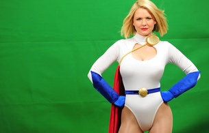 blonde, busty, milf, cosplayer, glamour, amateur, model, sexy babe, long hair, posing, smile, tight clothes, white, shiny, lycra, body, hot, decollete, cameltoe, blue, gloves, cape, belt, erotic, red lips, hi-q, cosplay