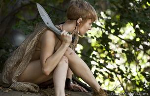 syrina, fantasy, elf, woods, strina a, syrina a, knife