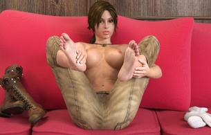 3d, virtual, lara, brunette, busty, sexy babe, fantasy, lara croft, long hair, posing, sitting, sofa, undressing, leather, boots, pants, lift legs, feet, topless, nice tits, nipples, sexy, tomb raider, widescreen cut