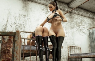 2 babes, brunettes, 3d, busty, virtual, sexy babe, nice tits, long hair, latex, lingerie, bra, stockings, rarely, covered, super boobs, shiny, rubber, fetish, hot, ass wallpaper, mistress, and, slave, fetish babe