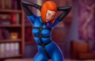 tara s, drawn, art, redhead, sexy babe, short hair, glasses, sexy dressed, tight clothes, blue, latex, fullsuit, harness, necktie, gloves, ballgag, erotic art, drew gardner, fetish babe, tara