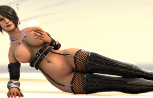 3d, virtual, brunette, busty, sexy babe, long hair, laying, hot, lingerie, leather, harness, gauntlets, topless, nice tits, nipples, super boobs, black, fishnet, stockings, overknee, crotch boots, fetish babe, widescreen cut, babes in boots