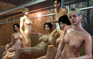 6 babes, blondes, brunettes, virtual, group, sexy babe, slim, body, long hair, oily, blonde, naked, tiny tits, nipples, brunette, long hair, big tits, boobs, juggs, six, hot, babes