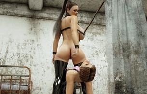 2 babes, brunettes, 3d, busty, virtual, sexy babe, nice tits, long hair, latex, lingerie, bra, stockings, rarely, covered, super boobs, shiny, rubber, fetish, hot, ass wallpaper, mistress, and, submissive, slave, fetish babe