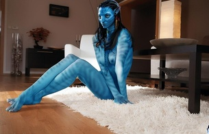 avatar, nude, naked, carpet, living, room, fantasy, girl, elf, creature, something, :), no!, slim, na'vi, lien whore, blue skin, erotic, boobs, boobies, tits, blue tits, hooters