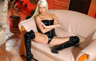 lena love, blonde, slim, glamour, adult model, sexy babe, long hair, onlytease model, posing, sitting, sofa, shiny, pvc, lingerie, corset, string, overknee, high boots, sexy, cameltoe, erotic, fetish babe, lingerie series, lena, overknee boots, shiny clothes, babes in boots