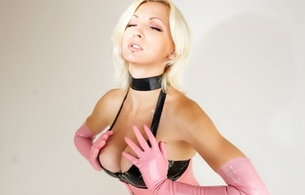 hand, gloves, blonde, face, hair, beauty, susan wayland, cleavage, latex, fetish