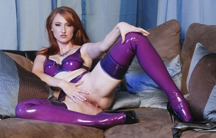 kendra james, redhead, american, alternative, glamour, model, slim, pale skin, sexy babe, long hair, posing, sitting, legs, spread wide, touch, pussy, shaved, cunt, purple, latex, lingerie, bra, garterbelt, stockings, legs, high heels, ke