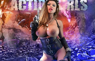 armie field, armie flores, model, sexy, big boobs, huge tits, big breasts, busty babe, leather, corset, gloves, gun, nipples, breathtaking fake boobs, gorgeous, art, fantasy, background, action girls, underbust corset, heavy artillery, pendant, chain
