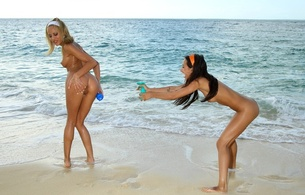 amia moretti, amia miley, brunette, anita pearl, blonde, beach, naked, small tits, nipples, shaved pussies, asses, 2 babes, girl girl pics, perfect vacation, playful, tanned