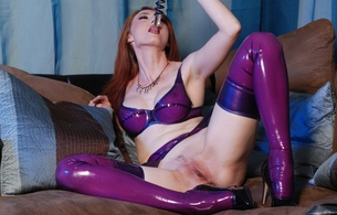 kendra james, redhead, american, alternative, glamour, model, slim, pale skin, sexy babe, long hair, posing, sitting, purple, latex, lingerie, bra, garterbelt, stockings, legs, spread wide, trimmed, cunt, teasing, lovetoy, glass dildo, shin