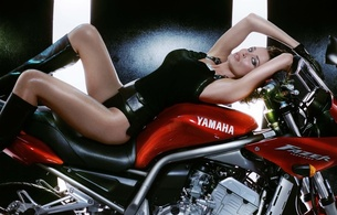 dannii minogue, blonde, australian, singer, actress, celebrity, sexy babe, short hair, posing, laying, black, tight clothes, yamaha, bike, erotic, real celebs wall, hi-q, dannii