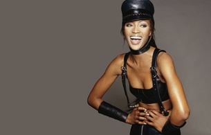 naomi campbell, ebony, brunette, sexy babe, long hair, personality, celebrity, exotic, sexy babe, posing, smile, black, leather, lingerie, bra, miniskirt, gauntlets, cap, braces, erotic, own cut, hi-q, fetish babe, supermodel, naomi, mistress, minimal