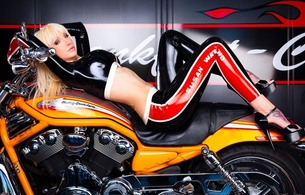 susan wayland, blonde, german, alternative, fetish supermodel, tattoo, busty, slim, sexy babe, long hair, posing, laying, tight clothes, latex, top, leggings, legs, plateau heels, harley davidson motorcycles, bike, shiny, rubber, fetish, erotic, big tits, knockers, hoops, shiny clothes, fetish babe