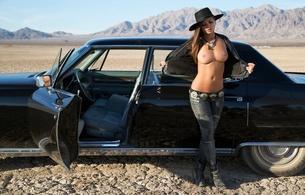 elsie aryn, brunette, playboy, model, car, cowboy hat, topless, big tits, hard nipples, desert, chelsie aryn, top open, tits out