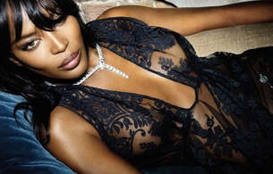 naomi campbell, british, exotic, supermodel, celebrity, actress, ebony, sexy babe, brunette, long hair, close up, eyes, face, laying, black, lingerie, sexy, decollete, erotic, lips, real celebs wall