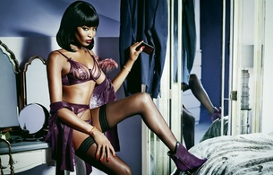 naomi campbell, british, exotic, supermodel, celebrity, actress, ebony, sexy babe, brunette, long hair, posing, smile, bedroom, hot, purple, lingerie, bra, string, garterbelt, stockings, ankle boots, erotic, red lips, lingerie series, real celebs wall
