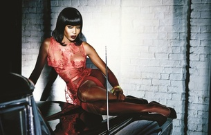 naomi campbell, british, exotic, supermodel, celebrity, actress, ebony, sexy babe, brunette, long hair, posing, sitting, car, hot, lingerie, erotic, red lips, pin up style, legs, high heels, naomi, lingerie series, real celebs wall