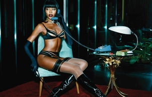 naomi campbell, british, exotic, supermodel, celebrity, actress, ebony, sexy babe, brunette, long hair, posing, sitting, lingerie, bra, string, garterbelt, stockings, gloves, pvc, knee boots, erotic, mistress, whip, naomi, hi-q, babes in boots, lingerie series