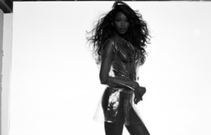 naomi campbell, british, exotic, supermodel, celebrity, actress, ebony, sexy babe, brunette, long hair, lions mane, posing, rarely, covered, naked, hot, body, plastic, jacket, c-tru, nice tits, nipples, erotic, black and white, b&w, real cele, real celebs wall