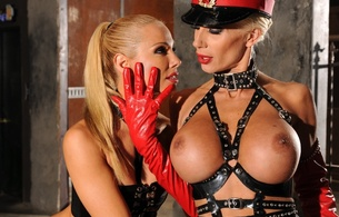 sandy, vega vixen, puma swede, pornstars, lesbians, blonde, amazing, sexy, big boobs, busty babe, nipples, big breasts, perfect, beautiful, latex, leather, hat, red, gloves, face, eyes, beauty, sleek hairstyle, gorgeous, hi-q, fetish babe, 2 babes, girl