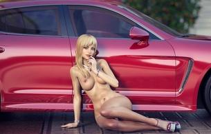 3d, blonde, girl, car
