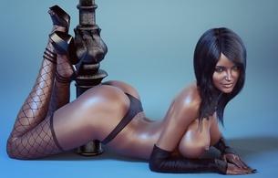3d, girl, brunette, stockings, high heels, black haired