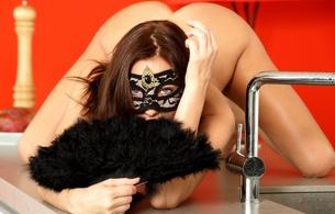 michaela isizzu, brunette, sexy girl, adult model, nude, naked, czech, sexy pose, kneeling, kitchen, fan, mask, kalena, kalena a, mila k, michaela madarova