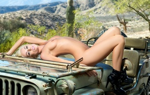 jennifer ann, blonde, playboy, model, naked, perfect tits, high heels, jeep, desert, hi-q, cactus, jennifer mccall, heather