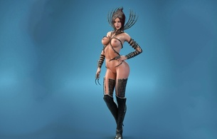 3d, girl, black haired, naked, art, sexy, big boobs, big breasts, virtual babe, fantasy
