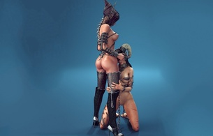 3d, girls, naked, slave, mistress