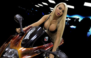 katya sambuca, sexy, blonde, sweet, big bobs, bike, motor, rock, rack, cleavage